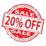 white background with red circle saying SALE 20% OFF