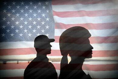 American Flag with male and female soldiers