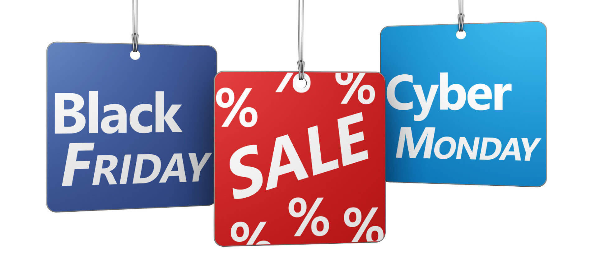 blue and red price tags with black friday and cyber monday sales