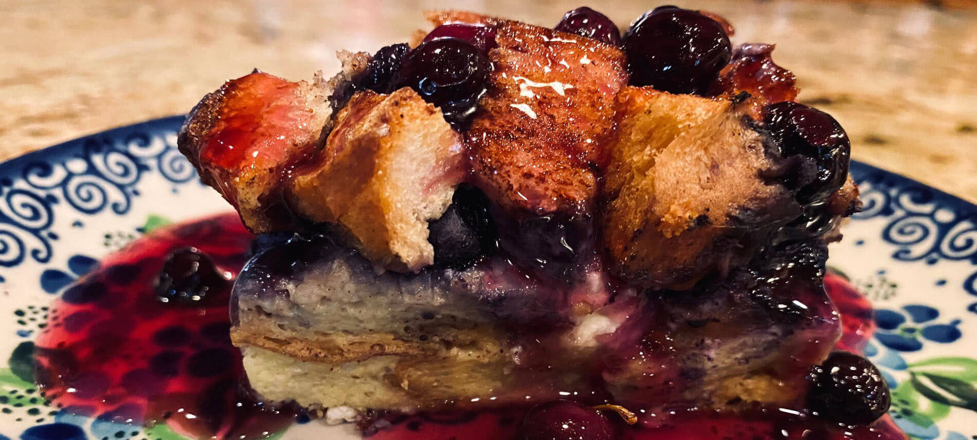 Blueberry Strata with Blueberry Syrup