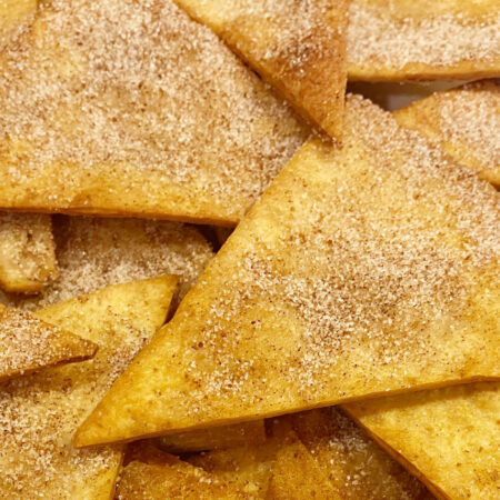 crisply fried flour tortilla wedges sprinkled with cinnamon and sugar