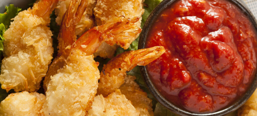 Cocktail Sauce with Golden Fried Shrimp