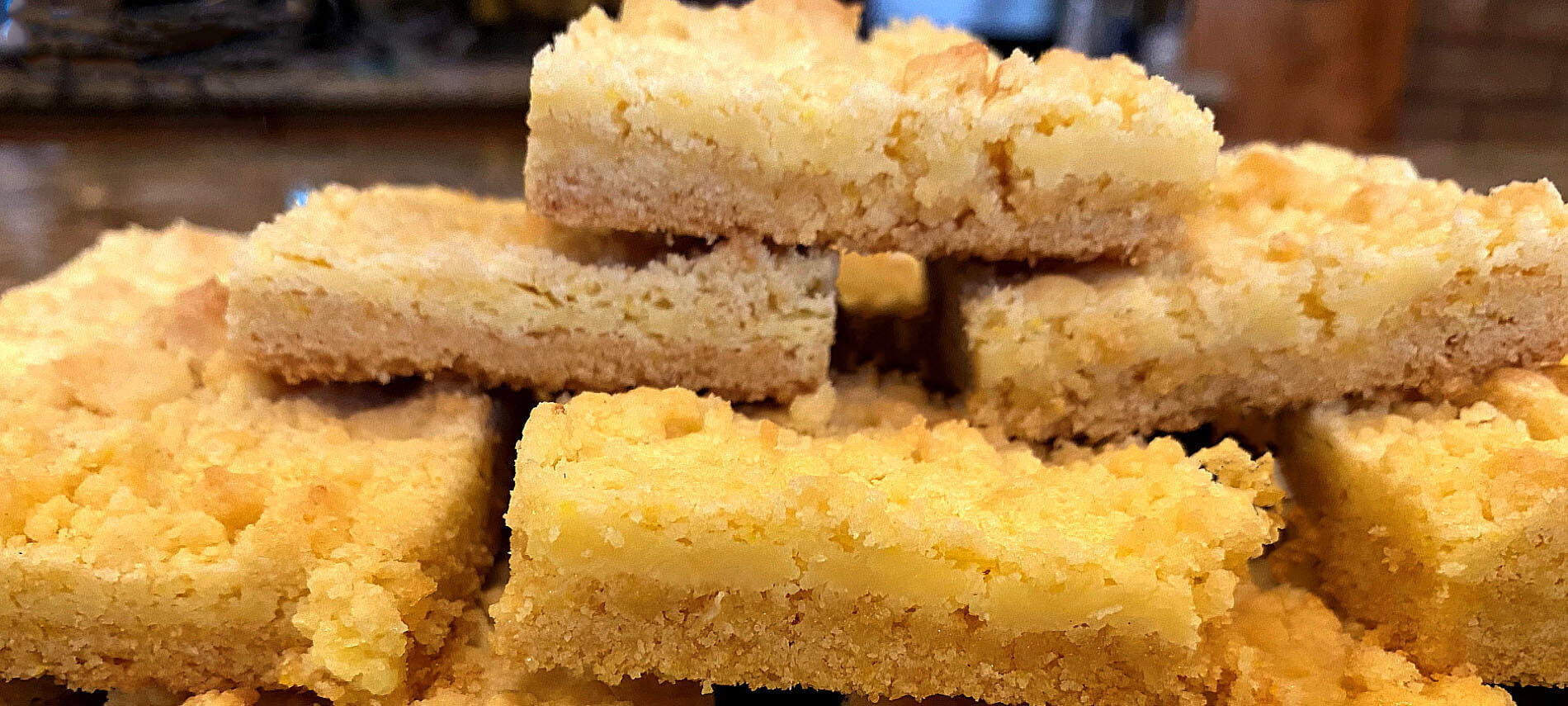 Lemon Square Cookies with a crumbly crust and cream cheese filling