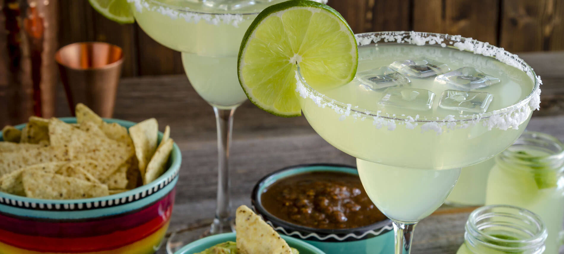 Margaritas with Lime, Chips and Salsa