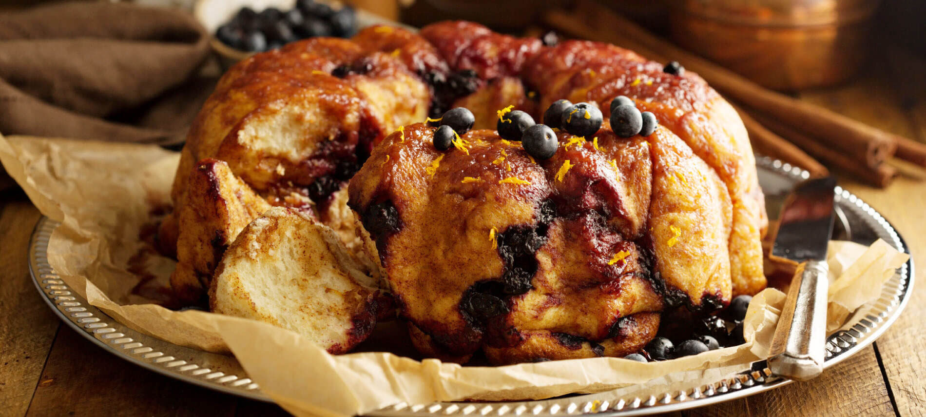 Monkey Bread with Blueberries and Lemon Zest