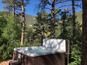 outdoor hot tub in the trees with mountains in the background