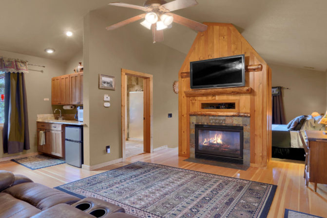 Suite with gas fireplace, Cable TV/DVD player, and kitchenette