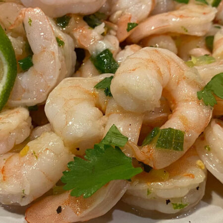shrimp with lime, green onions, and cilantro