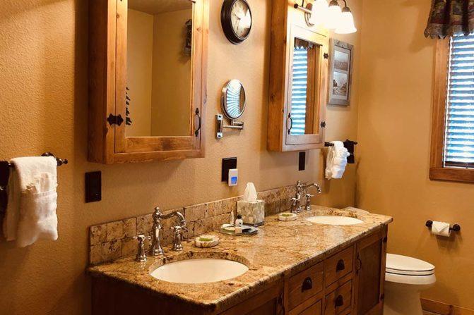 Dual bathroom vanity with double mirrors