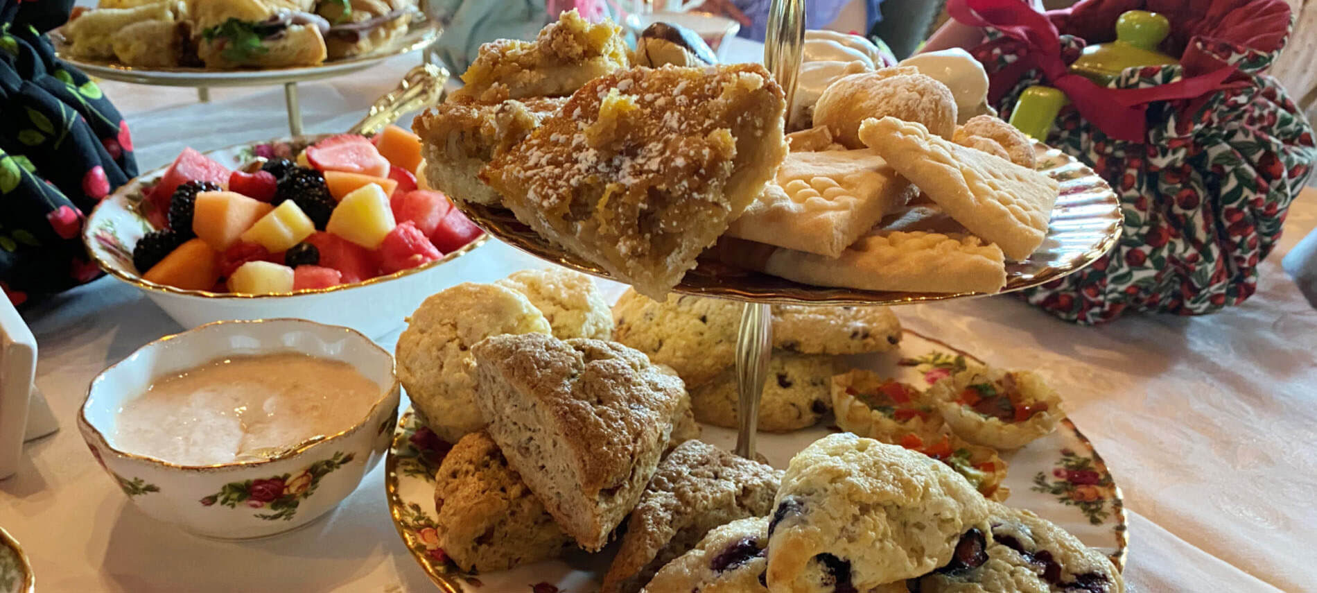 teatime sandwiches, scones, cookies, and teapots